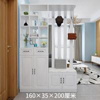 北欧玄关鞋柜简约现代门厅柜衣帽柜屏风镂空隔断柜客厅 组装