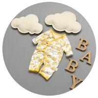 新生儿连体衣衣服男女宝宝卡通睡衣纯棉0-3个月蝴蝶系带龙凤哈衣