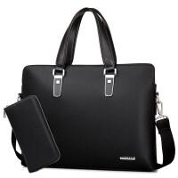 新款男士包包斜挎包休闲皮包男韩版商务品质男包手提包单肩公文包 黑色-送手包