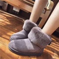 雪地靴女鞋短筒短靴加绒加厚平跟保暖学生鞋防滑平底棉