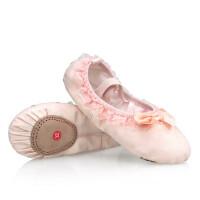 儿童舞蹈鞋女童芭蕾舞鞋 宝宝蕾丝花边蝴蝶结红色练功跳舞鞋