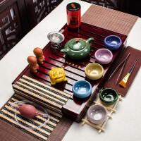 紫砂功夫茶具套�b家用整套��s��木茶�P特�r茶�夭璞�陶瓷冰裂 多款式�x��