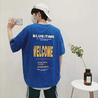 男士字母短袖T恤男宽松夏季韩版潮圆领打底衫色半袖