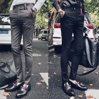 秋季纯色休闲裤男士修身显瘦长裤西装裤韩版织带贴布小脚锥形裤潮