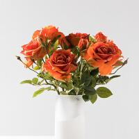 奇居良品 仿真绢花艺绢花假花装饰插花 短支玫瑰