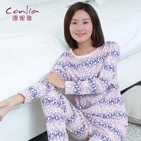 康妮雅2016春季新款家居服 女士几何图案印花圆领套头睡衣套装