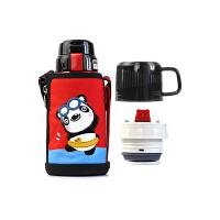 【限时秒杀】杯具熊(BEDDYBEAR)儿童保温杯带吸管316不锈钢双盖保温壶600ml 3D版-红色熊猫
