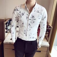 新款花衬衫男士长袖潮男修身型韩国帅气个性白衬衣夜店男装潮