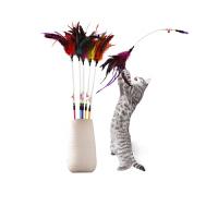 【支持�Y品卡】逗�棒�咪玩具��物羽毛�咪用品�的逗�玩具斗�棒�玩具t5n