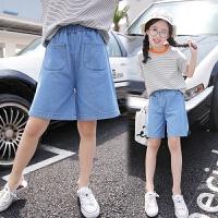 女童牛仔裤夏季2018新款中大童宽松阔腿裤洋气裤子薄款短裤五分裤 牛仔蓝