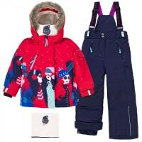 出口原单国外儿童滑雪服女童套装棉衣棉裤防风防寒防水-30度2-10Y新品 红色