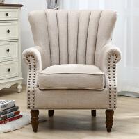 单人沙发美式老虎椅北欧双人组合小户型休闲懒人卧室阳台客厅布艺
