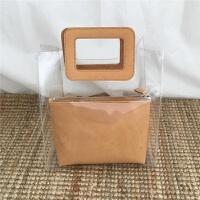 2018春夏韩版新款透明果冻包PVC购物袋手提包ins人气沙滩子母包女