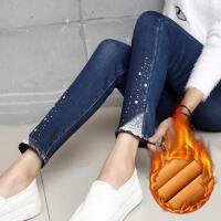 冬装蕾丝烫钻高腰加厚加绒牛仔裤女加大码显瘦小脚裤铅笔裤