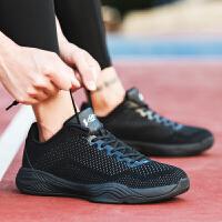 沃特学生篮球鞋男低帮运动鞋透气针织网面轻便水泥地