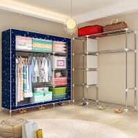 索尔诺25MM管布衣柜钢管加粗加固简易衣柜双人大号组装布艺衣橱2572F