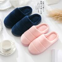 棉拖鞋女厚底冬季男情侣半包跟居家居韩版室内保暖防滑月子毛拖鞋