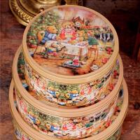 圆形收纳盒铁皮盒饼干盒曲奇饼干盒马口铁盒金属盒 蛋糕点心包装盒 小熊一家圆罐马口铁盒三件套饼干盒