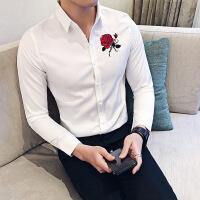 2018春装英伦修身夜店个性男士长袖衬衫纯色玫瑰花刺绣潮男寸衫