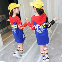 儿童卫衣女款秋季女童装9中大童10长袖中长款宽松上衣韩版