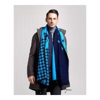 男士围巾冬季保暖仿羊绒围巾几何图案厚双面双色休闲围巾