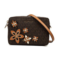 MICHAEL KORS 迈克·科尔斯褐色 经典logo印花 立体花朵装饰女士单肩斜挎包