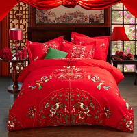 全棉婚庆四件套 纯棉结婚床上用品 加厚磨毛 大红色龙凤床单床品套件