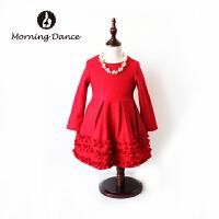 2018秋冬欧洲站女童装新款羊毛呢长袖连衣裙表演*过年生日裙子
