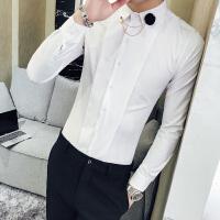 发型师服装衬衫男长袖修身韩版潮流个性青年帅气春装2018衬衣夜店