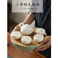 陶瓷茶盘家用景德镇功夫茶具储水日式圆形迷你干泡小茶台竹茶托盘s4i
