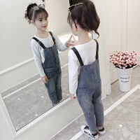 女童牛仔背带裤套装春秋韩版时髦潮衣两件套儿童洋气秋装