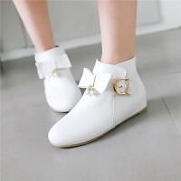 韩版蝴蝶结公主大童女童靴子童鞋春秋白色短靴儿童马丁靴