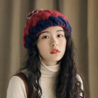 保暖套头蓓蕾贝雷帽女韩版可爱球球毛线帽休闲格子画家帽