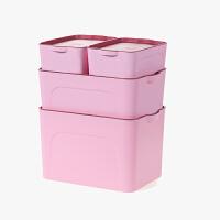 当当优品  塑料衣物整理箱 儿童玩具收纳箱 桌面有盖储物箱四件套 粉色