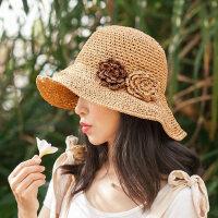 可折叠大沿太阳帽子休闲草编遮阳帽凉帽草帽女镂空钩针沙滩帽