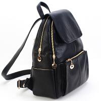 休闲双肩包女韩版潮学院风背包时尚妈咪包学生书包旅行包 黑色 G25送手拿包香包