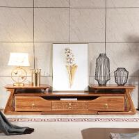 新中式实木电视柜客厅实木家具现代简约乌金木可伸缩电视柜影视柜 伸缩电视柜 组装
