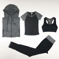 瑜伽健身服四件套运动休闲跑步外套长袖文胸假两件裤子套装女