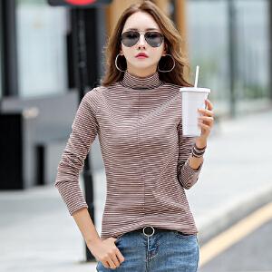 春秋季新款长袖打底衫女装韩版修身T恤百搭高领黑白条纹上衣