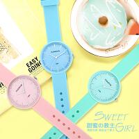 韩版简约手表女时尚潮流休闲可爱中学生儿童考试手表小清新石英表