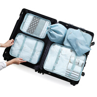 出差旅行用品行李箱防水收纳袋整理包男旅游洗漱包女便携套装 浅蓝色 新款 送包
