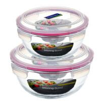 三光云彩 乐扣玻璃保鲜盒密封便当盒 大容量汤盆米缸保鲜碗 二件GL402B 二件装4000ml2000ml