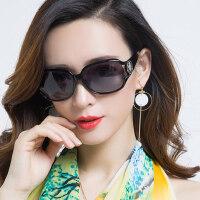 新款偏光驾驶开车太阳镜女 潮个性近视优雅眼镜 户外女生圆脸大框墨镜