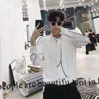 港风春装潮流小清新个性领带男士修身衬衣韩版时尚长袖夜店发型师