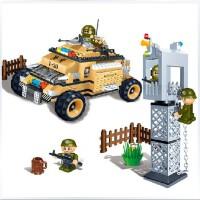 全店满99包邮!邦宝 军事战争拼装积木 儿童益智拼插塑料积木玩具 轮式装甲车