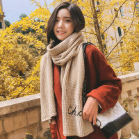 百搭披肩围巾女毛线针织女士围巾韩版女加厚保暖