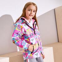 小猪班纳童装女童卡通冲锋衣外套儿童两件套