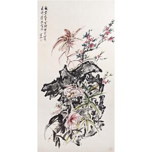 W1775 黄宾虹(款)《花卉》(原装旧裱满斑)