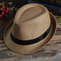 男士夏季遮阳帽草帽情侣草编爵士帽韩版帽子女士太阳沙滩帽子款