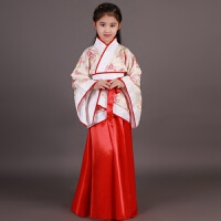 儿童古筝演出服女孩古装表演服装小仙女唐装汉服摄影秋冬 花色